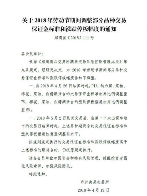 郑商所:劳动节期间调整部分品种保证金比例及涨跌幅限制