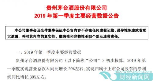 贵州茅台一季度净利同比增长30%左右