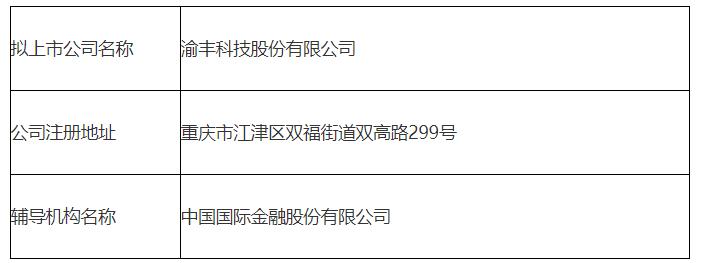 """""""牵手""""中金公司,渝丰科技股份有限公司欲赴A上市"""