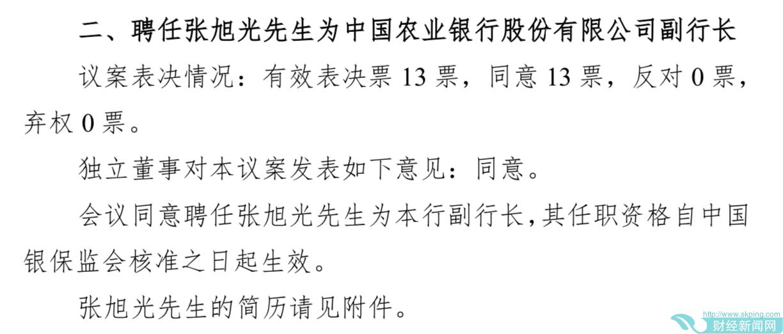 张旭光获聘农业银行副行长,曾任国开行副行长