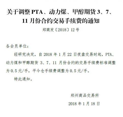 郑商所:调整PTA、动力煤和甲醇期货手续费